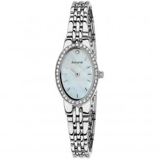 Ladies Stone Set Silver Tone Quartz Watch