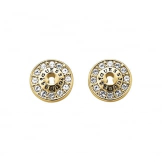 Ladies 'All Locked Up' Gold Padlock Crystal Studs