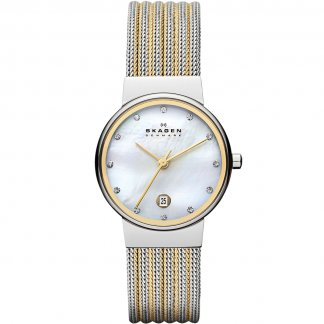 Ladies Ancher Two Tone Mesh Watch
