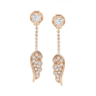 Ladies Angel Wing Rose Gold Drop Earrings