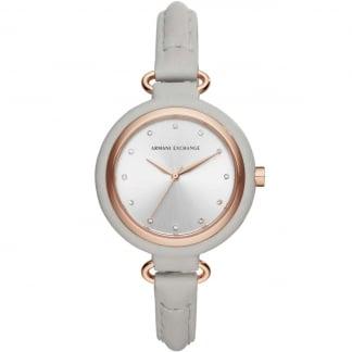 Ladies Grey Leather Stone Set Strap Watch