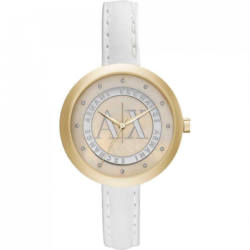 Armani Exchange Ladies Swarovski Set White Leather Watch AX4227