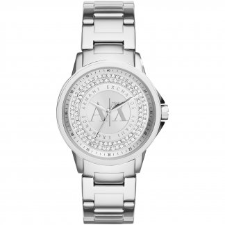 Ladies Stone Set Silver Dial Watch