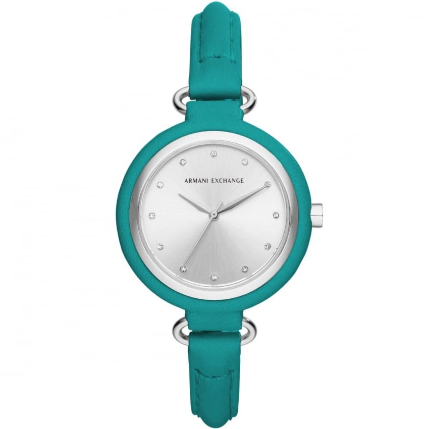 Armani Exchange Ladies Teal Leather Strap Stone Set Watch AX4234