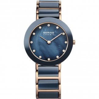 Ladies Blue Ceramic & Rose Tone Steel Watch 11429-767