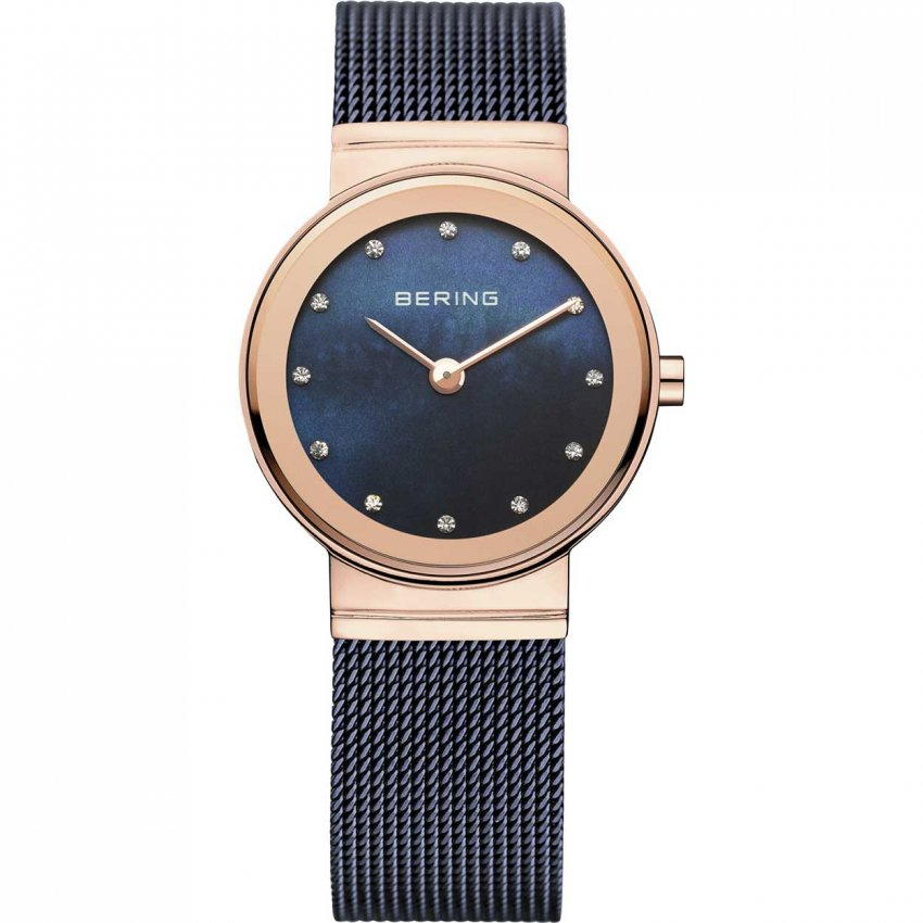 Bering Ladies Classic Blue Milanese Swarovski Set Watch 10126-367