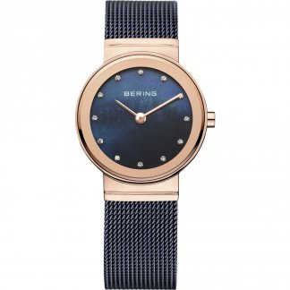 Ladies Classic Blue Milanese Swarovski Set Watch