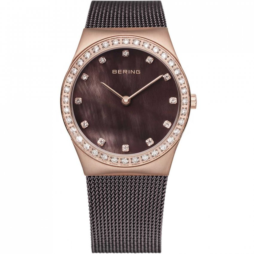 Bering Ladies Classic Brown Milanese Swarovski Set Watch 12430-262