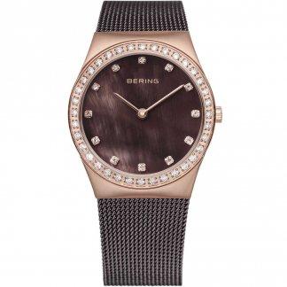 Ladies Classic Brown Milanese Swarovski Set Watch