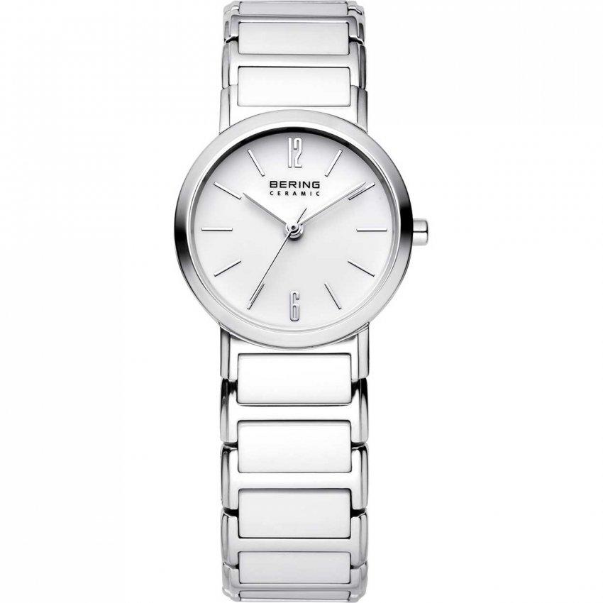 Bering Ladies Classic Steel & White Ceramic Watch 30226-754