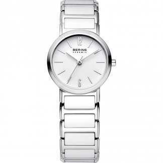 Ladies Classic Steel & White Ceramic Watch