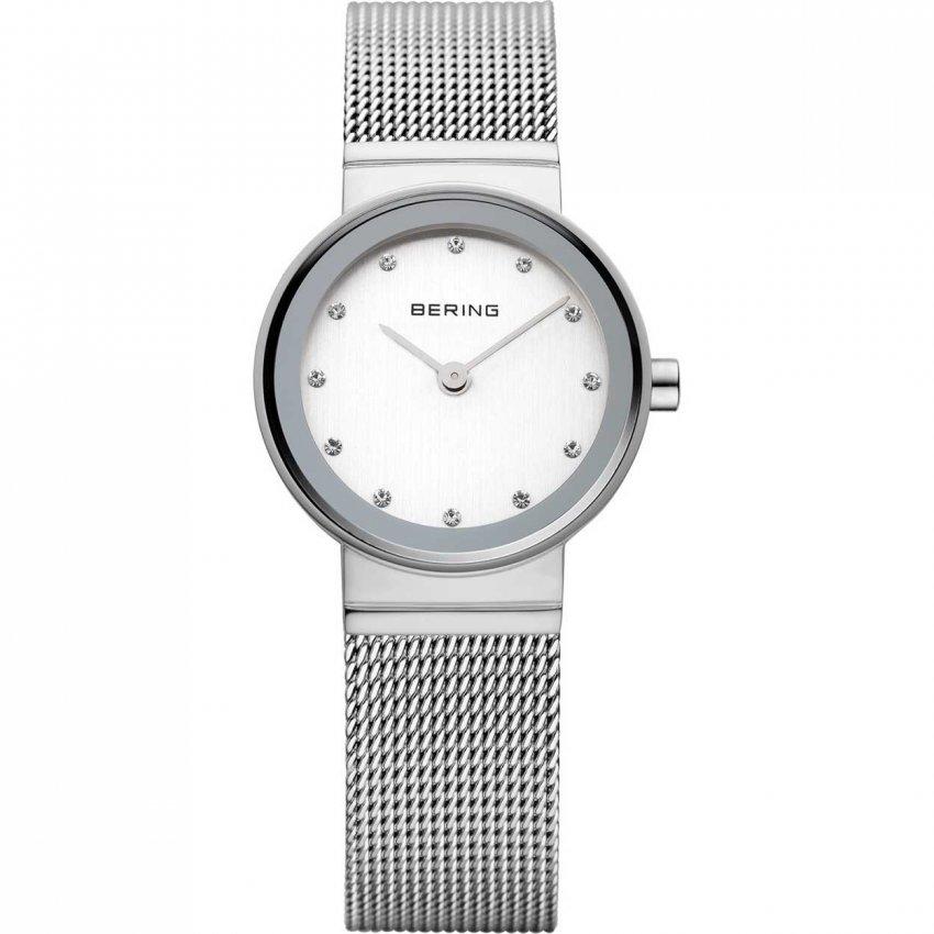 Bering Ladies Classic Swarovski Set Silver Mesh Watch 10122-000