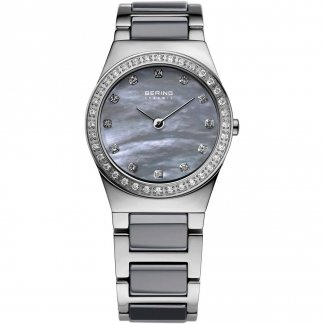 Ladies Mother of Pearl Grey Ceramic Swarovski Watch