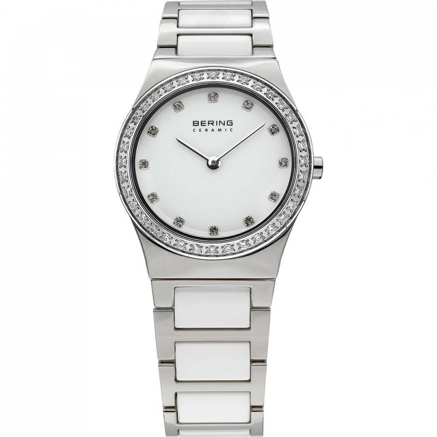 Bering Ladies Mother of Pearl White Ceramic Swarovski Watch 32430-754