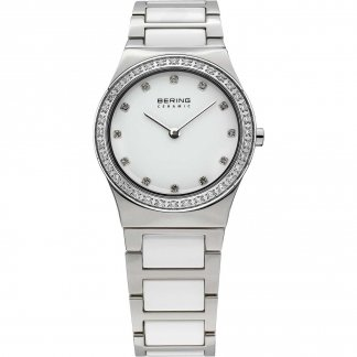 Ladies Mother of Pearl White Ceramic Swarovski Watch