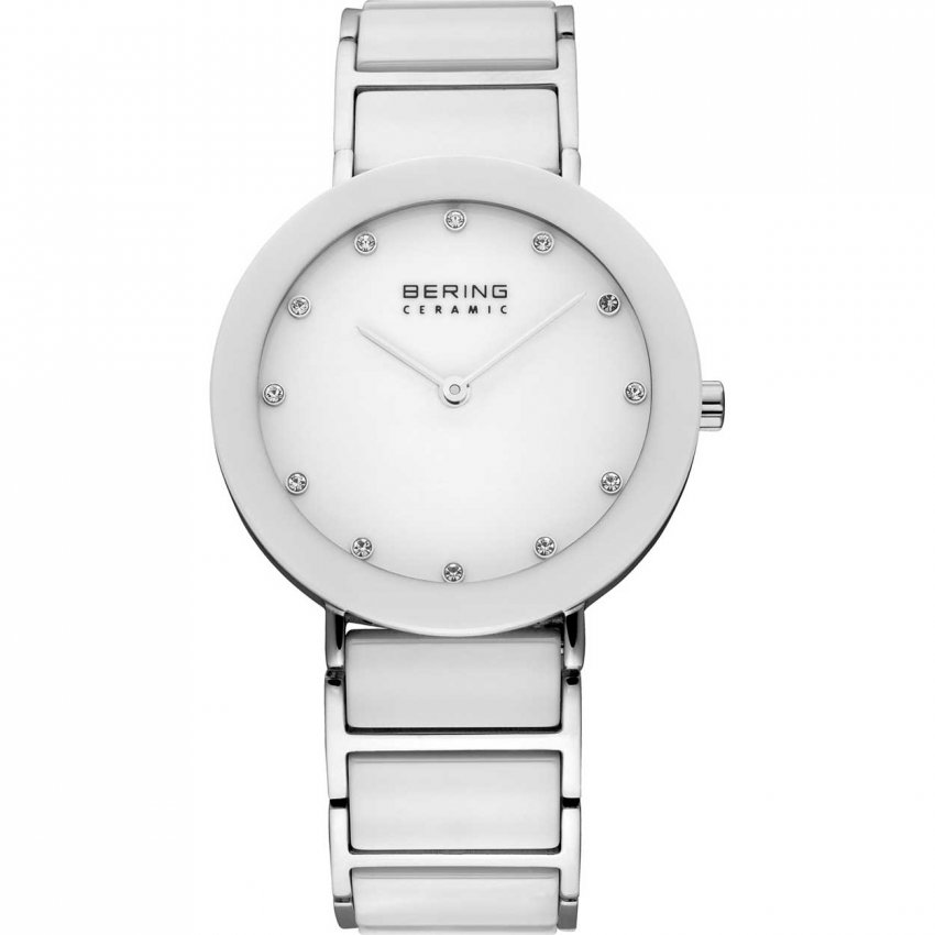 Bering Ladies Steel & White Ceramic Swarovski Set Watch 11435-754
