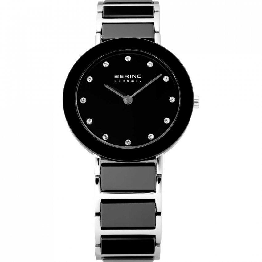 Bering Ladies Swarovski Set Black Ceramic & Steel Watch 11429-742