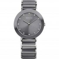 Bering Ladies Swarovski Set Steel & Grey Ceramic Watch 11435-789