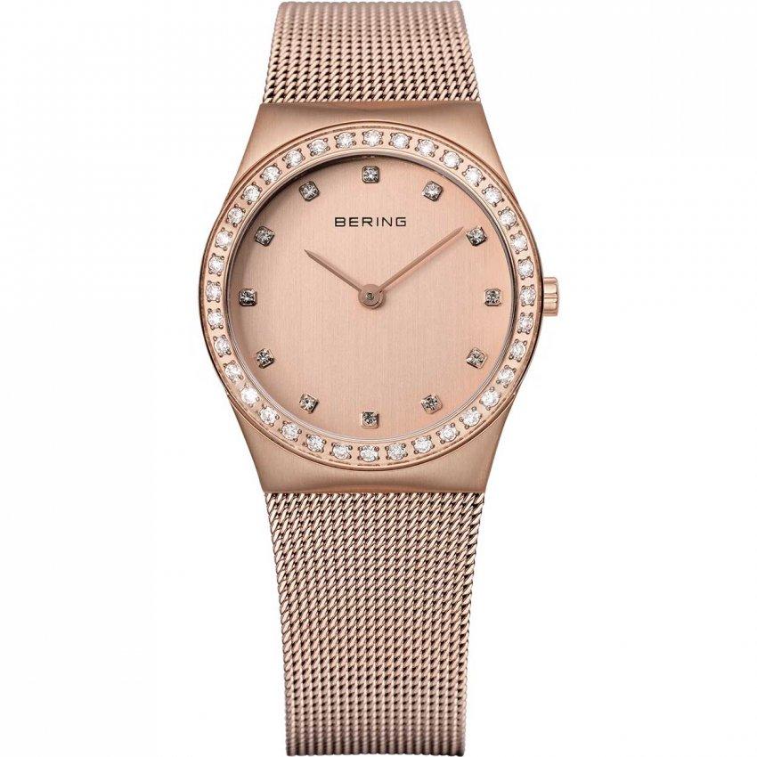 Bering Ladies Classic Rose Gold Milanese Swarovski Set Watch 12430-366