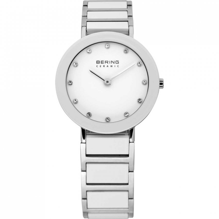 Bering Ladies Swarovski Set White Ceramic & Steel Watch 11429-754