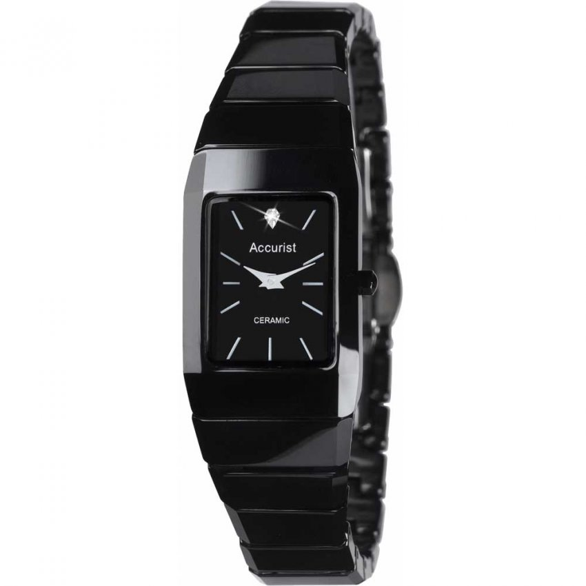 Accurist Ladies Black Ceramic Bracelet Watch LB1652