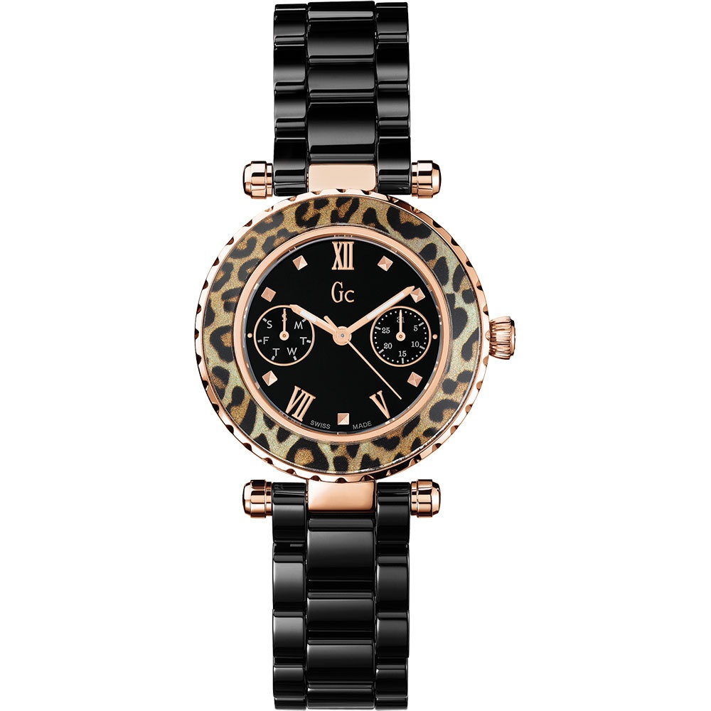 20fecfb9f Gc Ladies Black Ceramic Diver Chic Animal Print Bezel Watch Product Code:  X35016L2S
