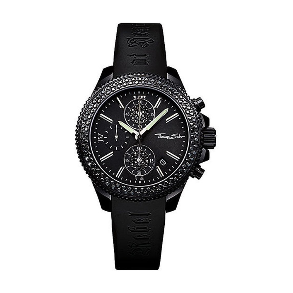 Thomas Sabo Ladies Black Crystal Set Rebel At Heart Watch