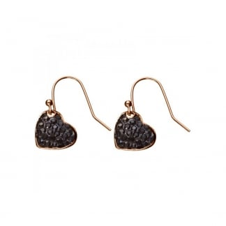Ladies Black Crystal Set Rose Gold Heart Earrings