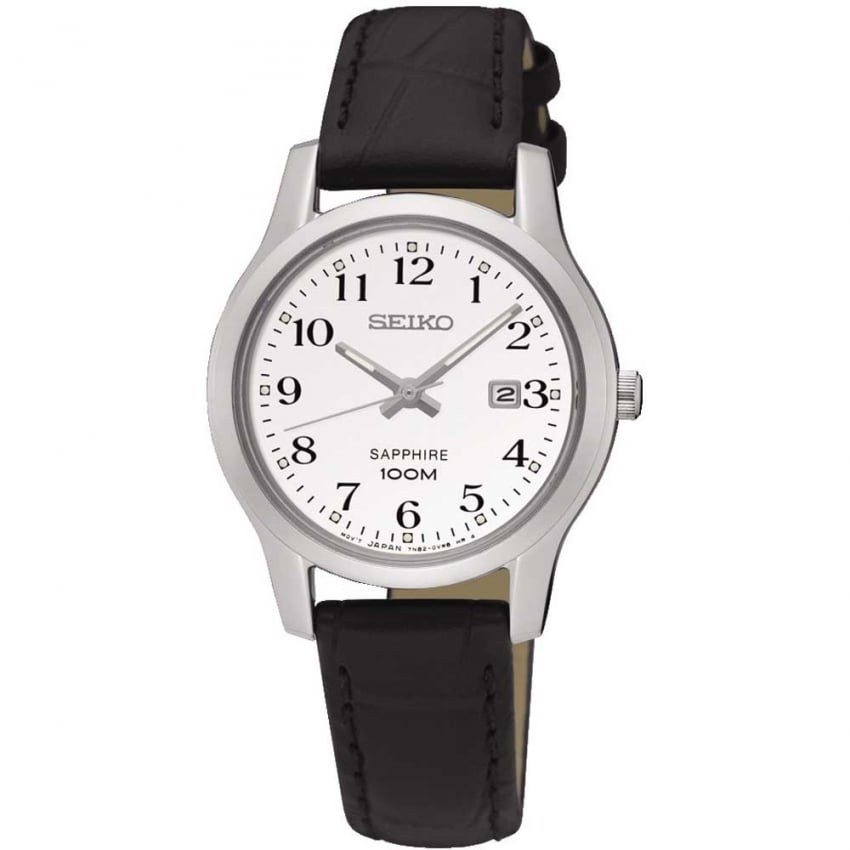 Seiko Ladies Black Leather Quartz Watch SXDG91P1