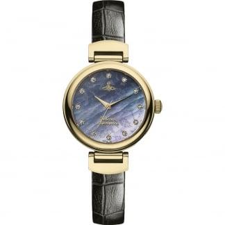 Ladies Black Leather Trafalgar Crystal Set Watch VV128GDBK