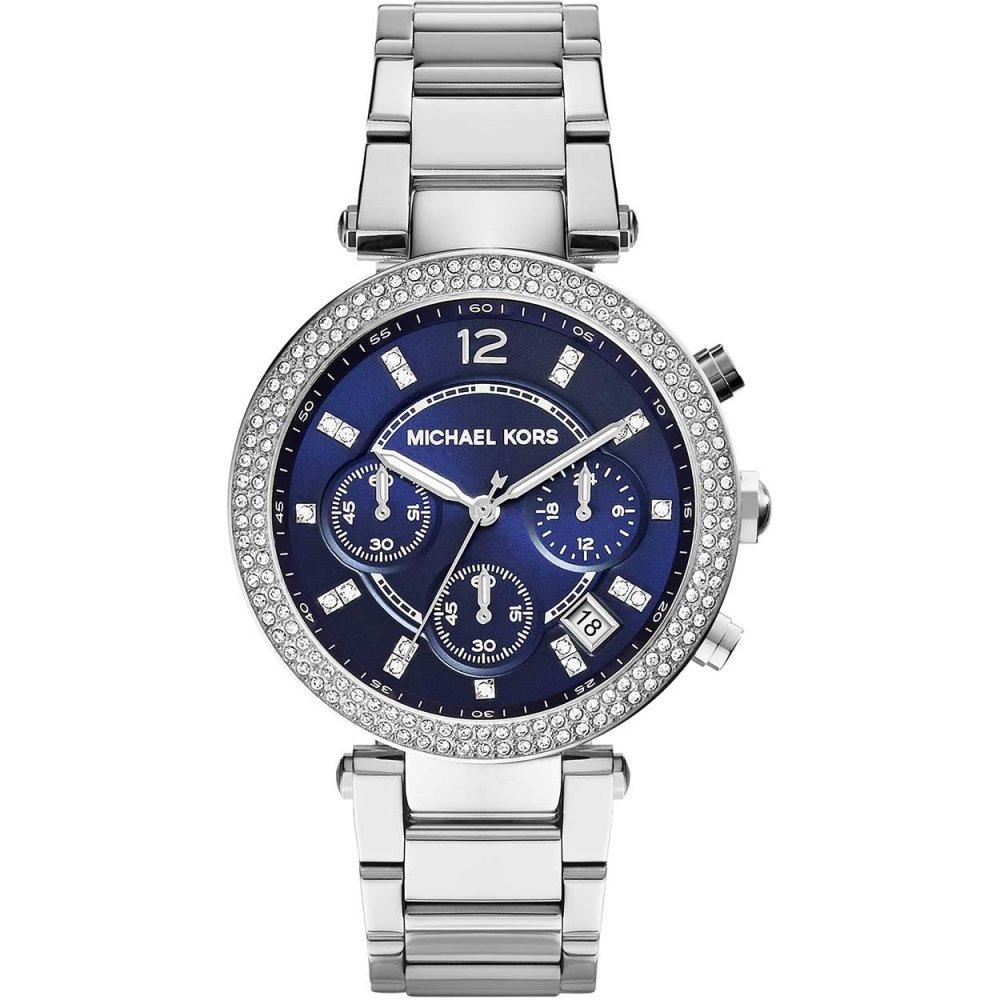 Michael Kors Ladies Blue Dial Parker Glitz Chronograph Watch ... 26fc065ae3a2