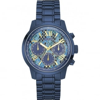 Ladies Blue PVD Python Dial Sunrise Watch