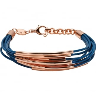 Ladies Blue & Rose Gold Multi Strand Bracelet