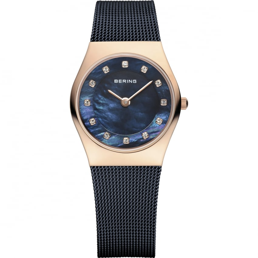 Bering Ladies Blue Rose Gold Plated Mesh Watch 11927-367