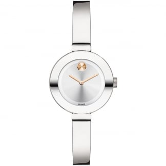 Ladies Bold Bangle Watch With Rose Detail
