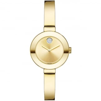 Ladies Bold Pavé Crystal Gold Bangle Watch