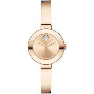 Ladies Bold Pavé Crystal Rose Gold Bangle Watch