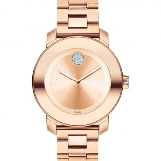 Ladies Bold Rose Gold Plated Crystal Dot Watch