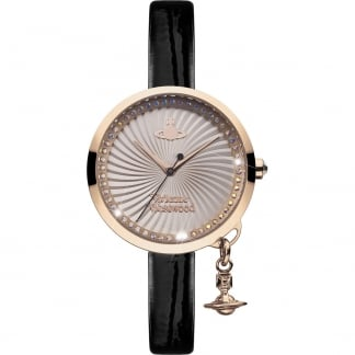 Ladies Bow Rose Gold PVD Black Strap Watch