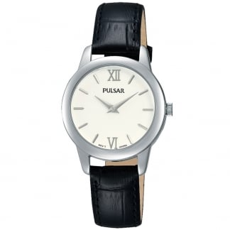 Ladies Brass and Black Leather Strap Watch