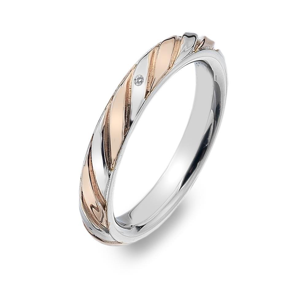 Hot Diamonds Ladies Breeze Silver & Rose Gold Ring - Jewellery ...