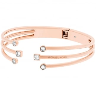 Ladies Brilliance Rose Gold Open Cuff Bangle