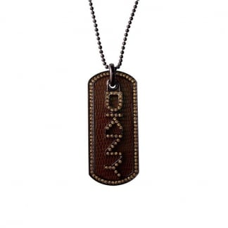 Ladies Brown Stone Set Dog Tag Necklace