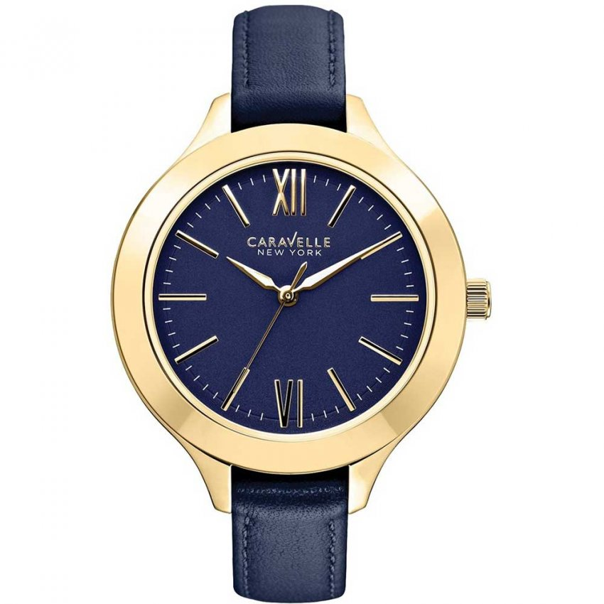 Caravelle New York Ladies Blue Leather Gold Plated Watch 44L153