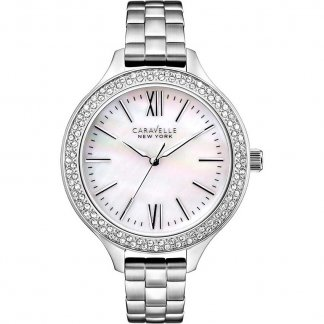 Ladies Crystal Set Mother of Pearl Dial Watch 43L165