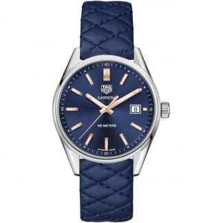 Ladies Carrera 39MM Blue Quilted Leather Quartz Watch