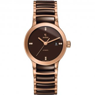 Ladies Centrix Diamond Rose & Chocolate Ceramic Watch