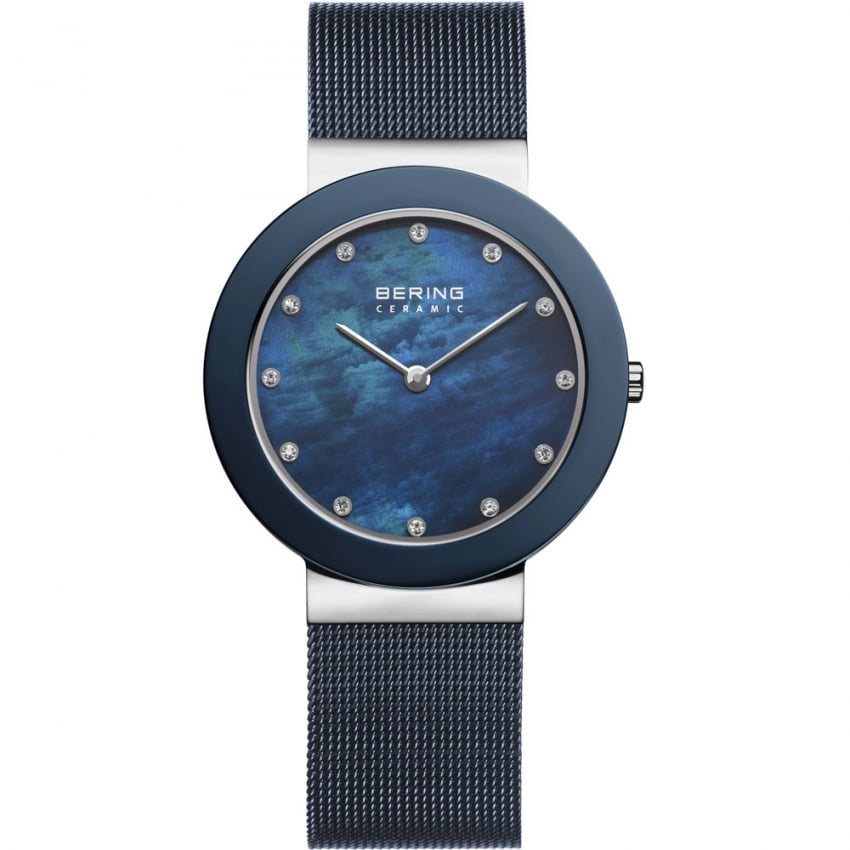 Bering Ladies Ceramic 34MM Blue MOP Mesh Bracelet Watch 11435-387