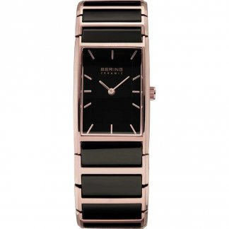 Ladies Ceramic & Rose Gold Ultra Slim Watch