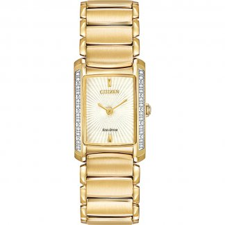 Ladies Euphoria Diamond Set Gold Bracelet Eco-Drive Watch EG2962-51A